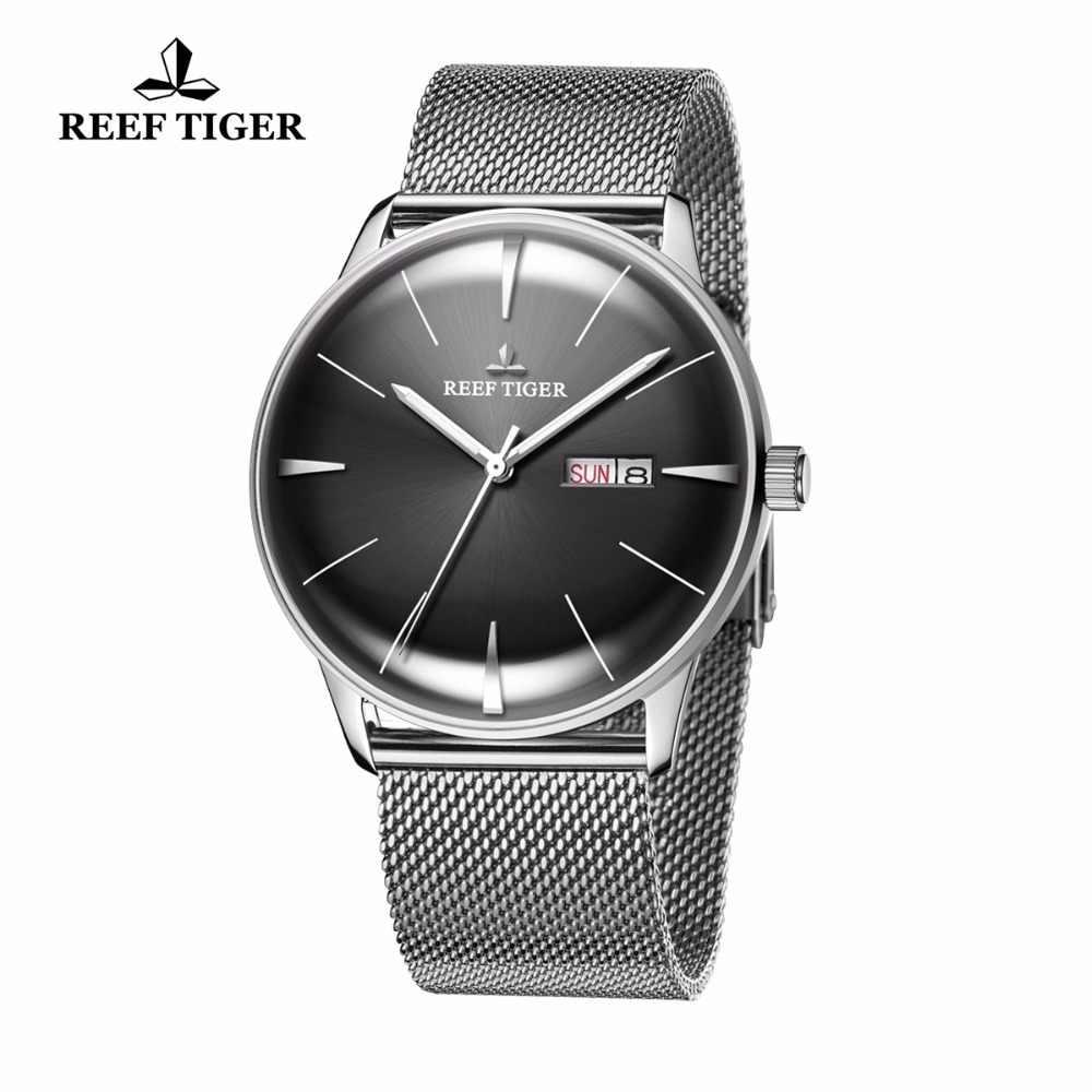 חדש שונית טייגר/RT Mens מעצב שמלת שעונים עם תאריך יום מלא פלדה קמור עדשה אנלוגי שעונים RGA8238