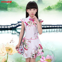 Chinese Style Traditional Girls Embroidery Dress Child Tang Suit Kids Printing Cheongsam Baby Princess Dresses Robe Baby Qipao