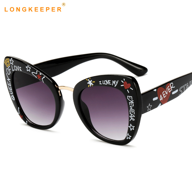 d291ed98eb Oversized Cat Eye Sunglasses women luxury brand 2019 cateye eye glasses  love shape stylish graffiti lunette