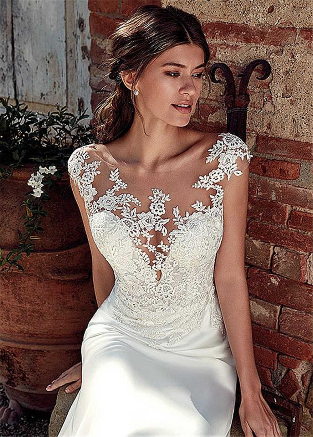 Sexy sem mangas ver através do pescoço appliqued rendas vestidos de casamento 2019 sereia trem ilusão vestido de noiva branco marfim