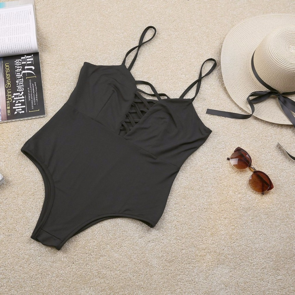 Sexy Vintage Front Bandage One-Piece Swimsuit Beachwear Soft Polyester Fiber No Steel Prop Elastic Women Swimsuit Bathing Suit 3