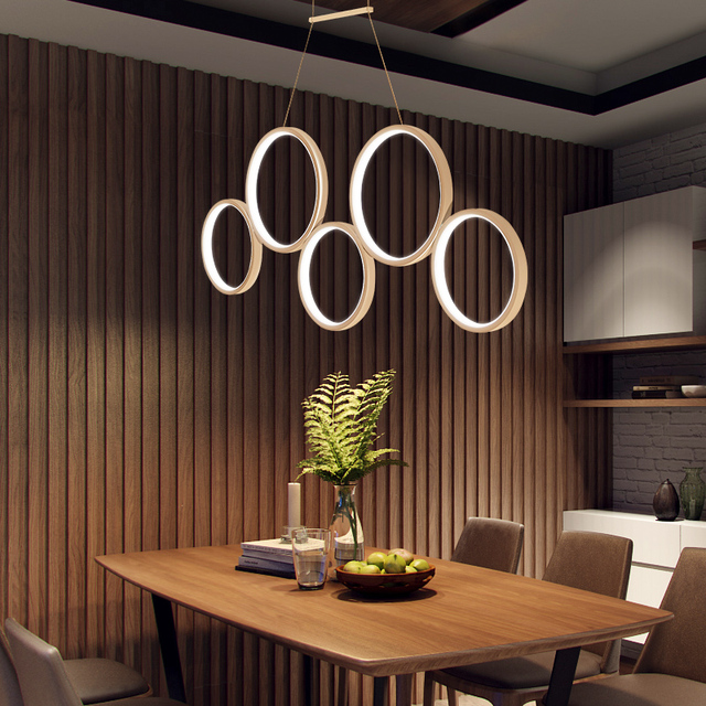 Dimmable 5/3 Circle Rings Pendant Lights For Living Room Dining Room Bar White/Brown Finished Home Deco Hanging RC Pendant Lamp