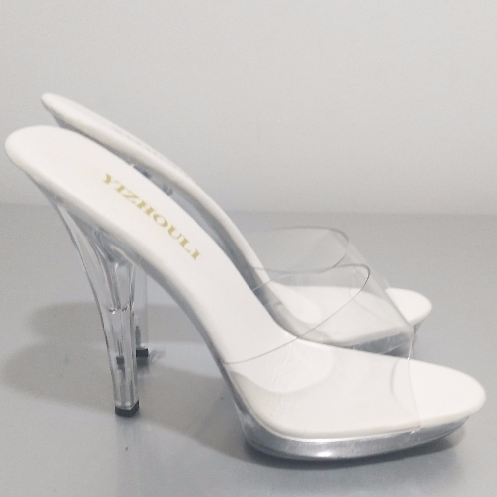 Hot 13 cm sweet gentle woman crystal transparent slippers, platform party sexy shoes, fashionable sandals 1