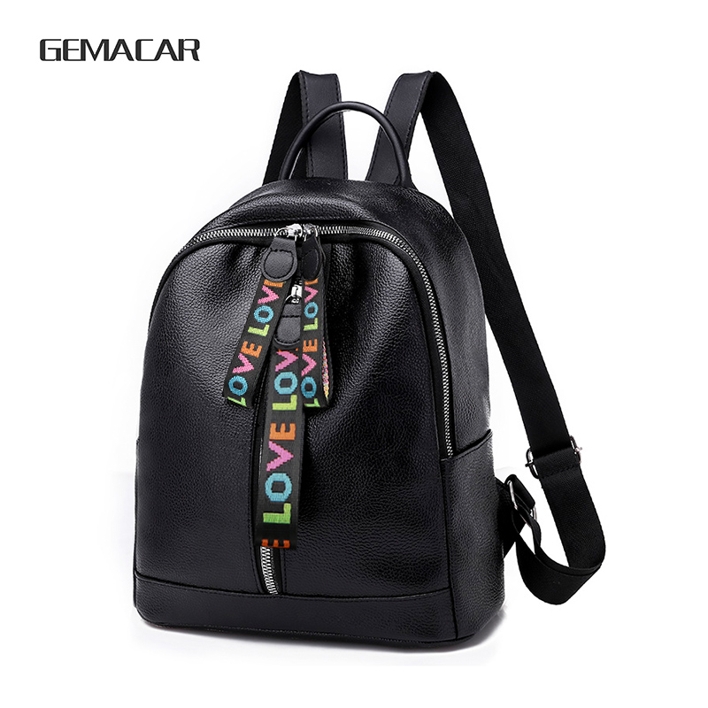 New Popular PU Leather Girls Backpack Large Capacity With Headphone Hole Solid Color Women's Rucksack Can Put Into Notepad