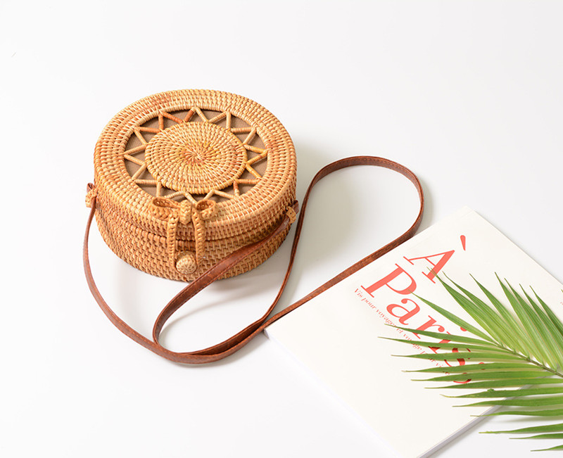 18 Round Straw Bags Women Summer Rattan Bag Handmade Woven Beach Cross Body Bag Circle Bohemia Handbag Bali 9