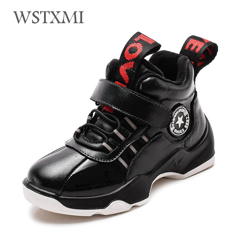 Boys Winter Boots Children Snow Shoes Genuine Leather Fashion Boys Sneakers Ankle Boots Plush Warm Waterproof Kids Martin Boots