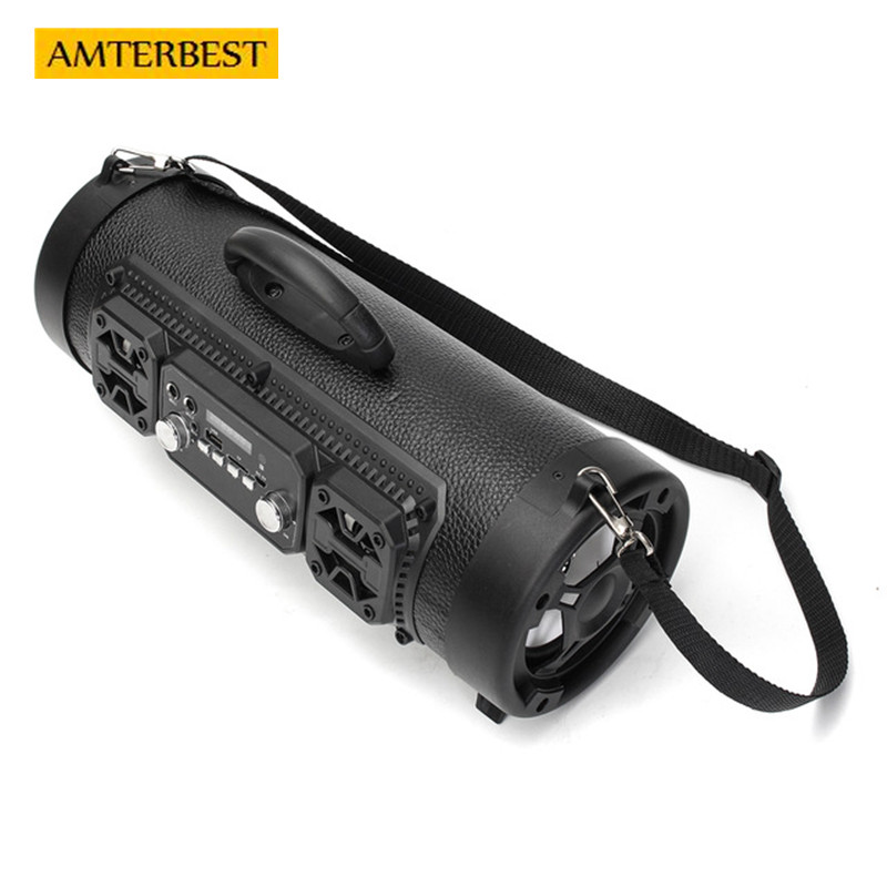 AMTERBEST Portable Outdoor Bluetooth Speaker Wireless Subwoofer Multifunctional TF Card Surround Sound Speaker with Microphone qcy qq100 max mini wireless bluetooth 3 0 speaker surround stereo hifi subwoofer tf card led flashlight 2600mah