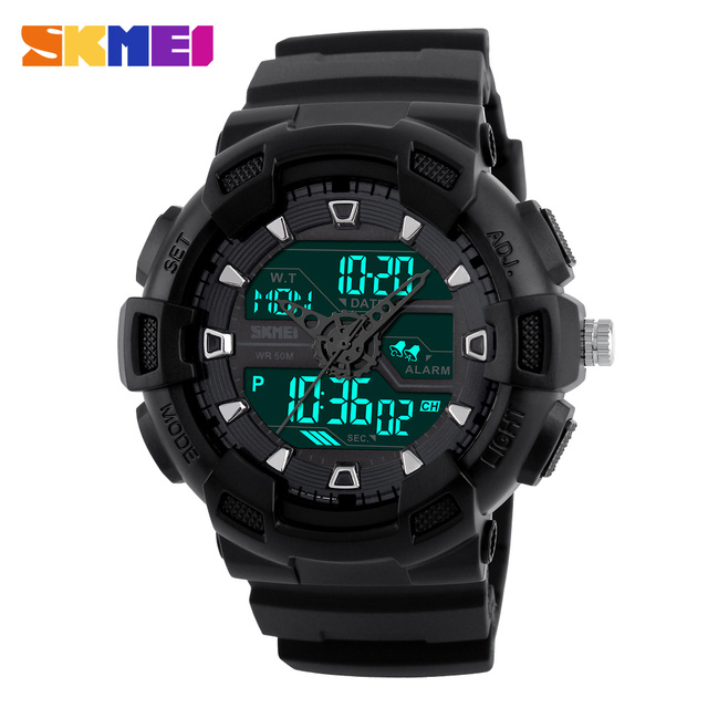 SKMEI Men Sports Watches Waterproof Military Quartz Digital Watch Multifunction Alarm Dual Time Zones LED Wristwatches relogios