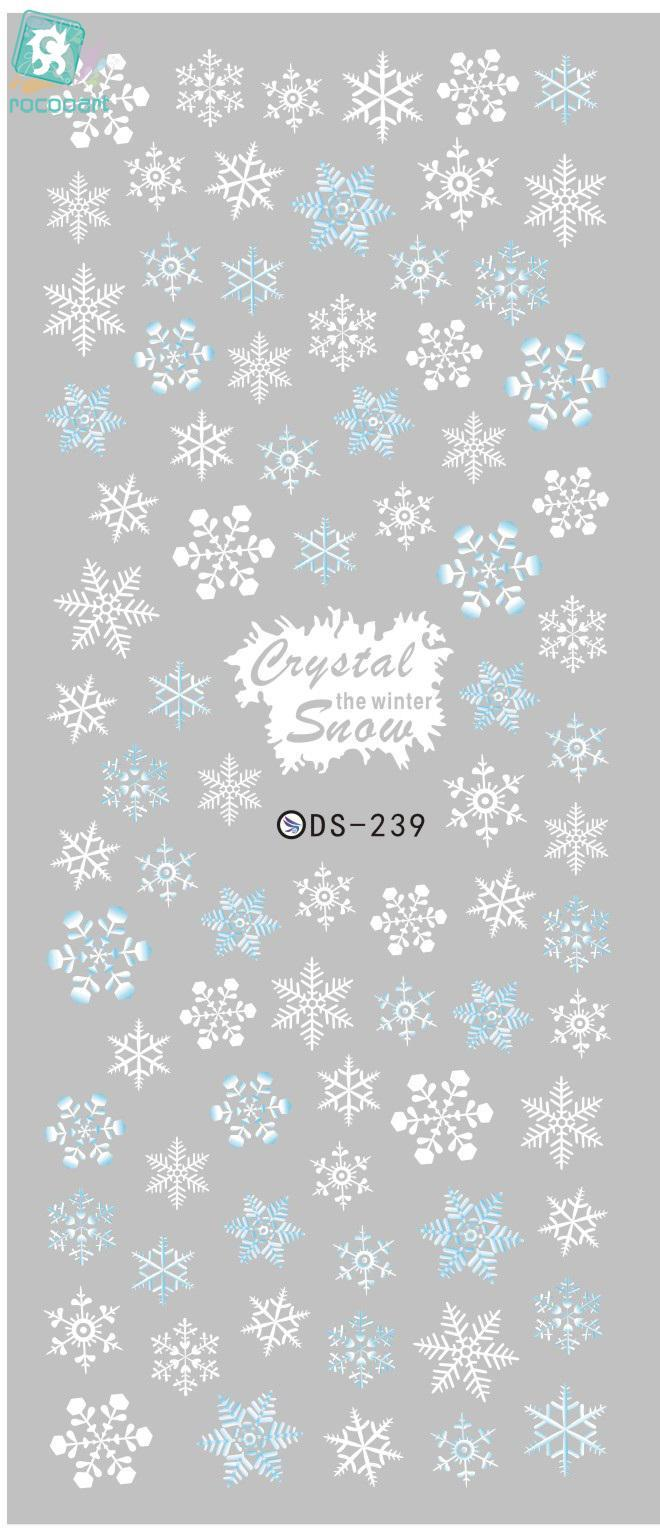 ds238 diy designer beauty water transfer nails art sticker pineapple rabbit harajuku nail wraps foil sticker taty stickers Rocooart DS239 Designer Winter Water Transfer Nails Art Sticker White Snowflake harajuku Nail Wraps Sticker manicure stickers