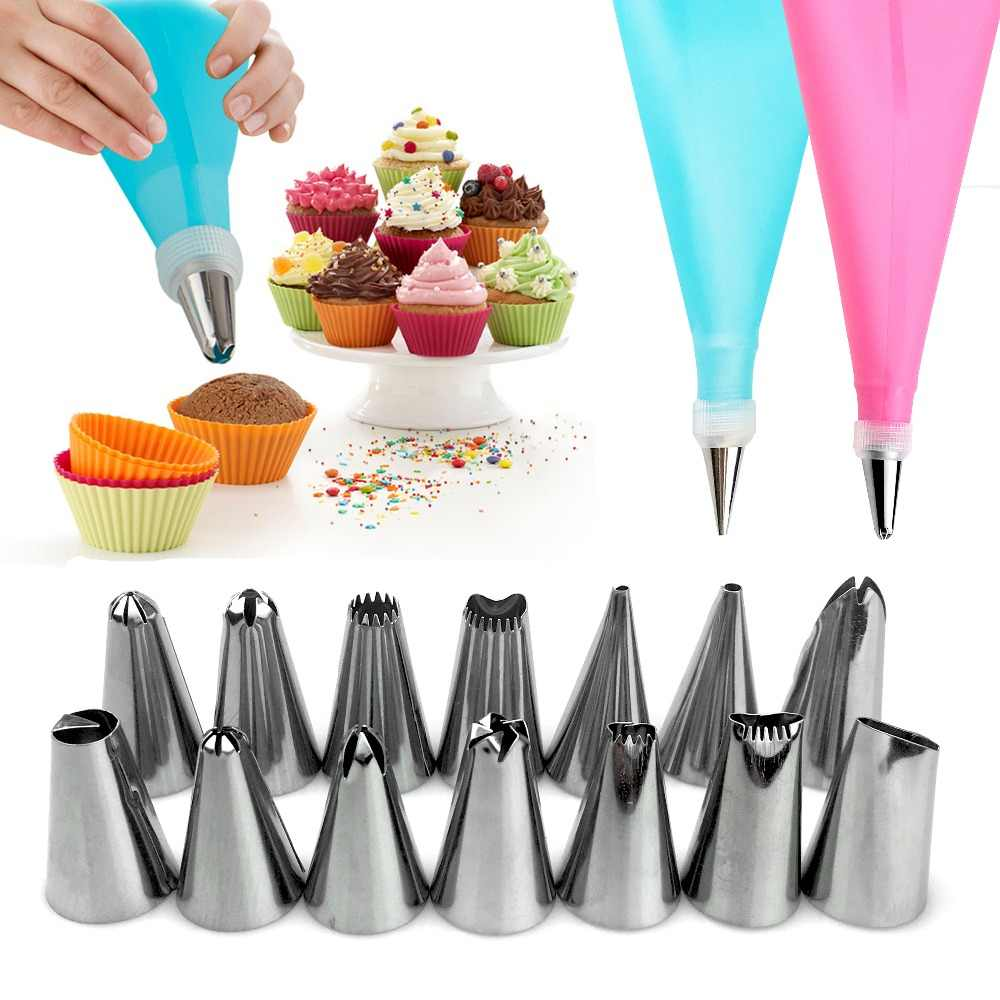 VOGVIGO 16PCS DIY Baking Cake Deco Tool Silicone Icing Piping Cream Pastry Bag Stainless Steel Nozzle Converter Only Blue Color