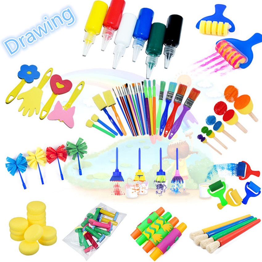1 Set Sponge Paint Brush Seal Painting Educational Toy For Kids DIY Graffiti Sponge Brushes Funny Toys Art Supplies Drawing Toys