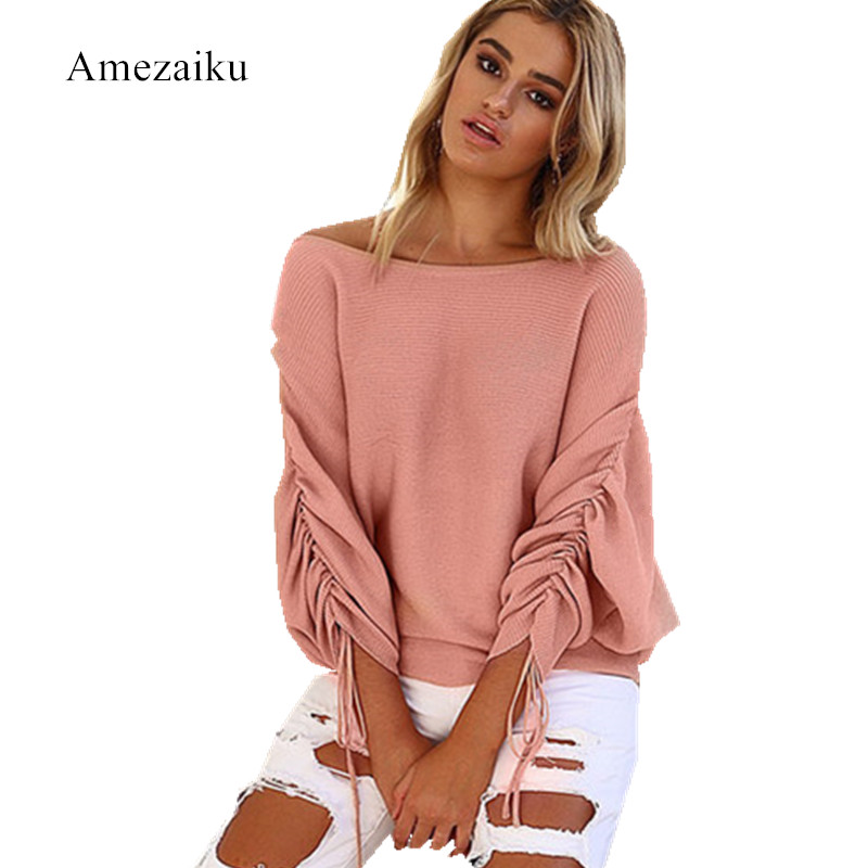 New 2017 Autumn and winter Ruffle Knitted sweatshirt Women Pullover Female Casual Loose O-Neck Solid bandage tops