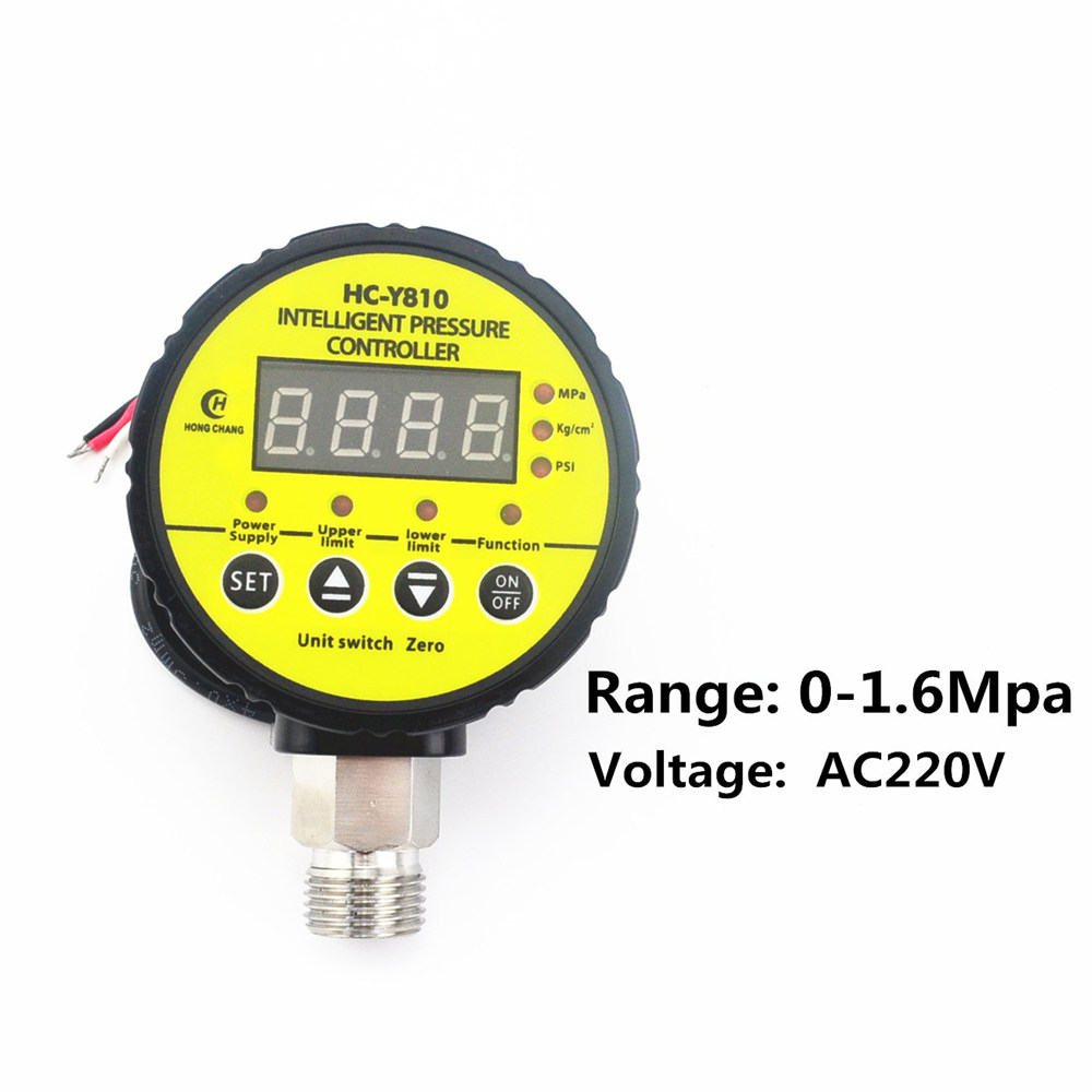 AC 220V 0-1.6Mpa Air Compressor Pressure Switch Digital Pressure Gauge  Relay Output