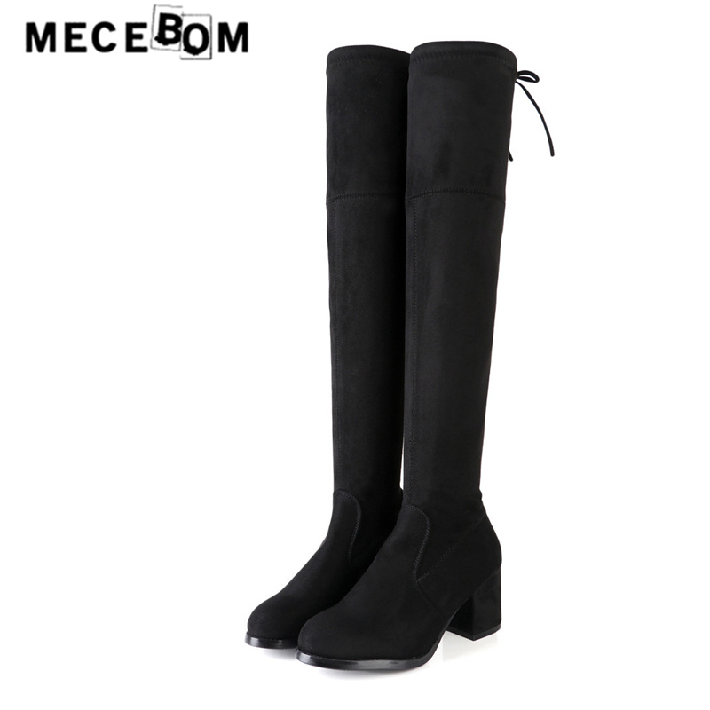 Womens over the knee boots fashion faux fur winter shoes sexy black stretch fabric women boots size 35-40 9051w