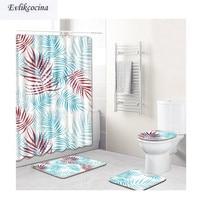 Free Shipping Blue Red Leaves Casa De Banho Banyo Bathroom Carpet Toilet Bath Mat Set Non Slip Tapis Salle De Bain Alfombra Bano