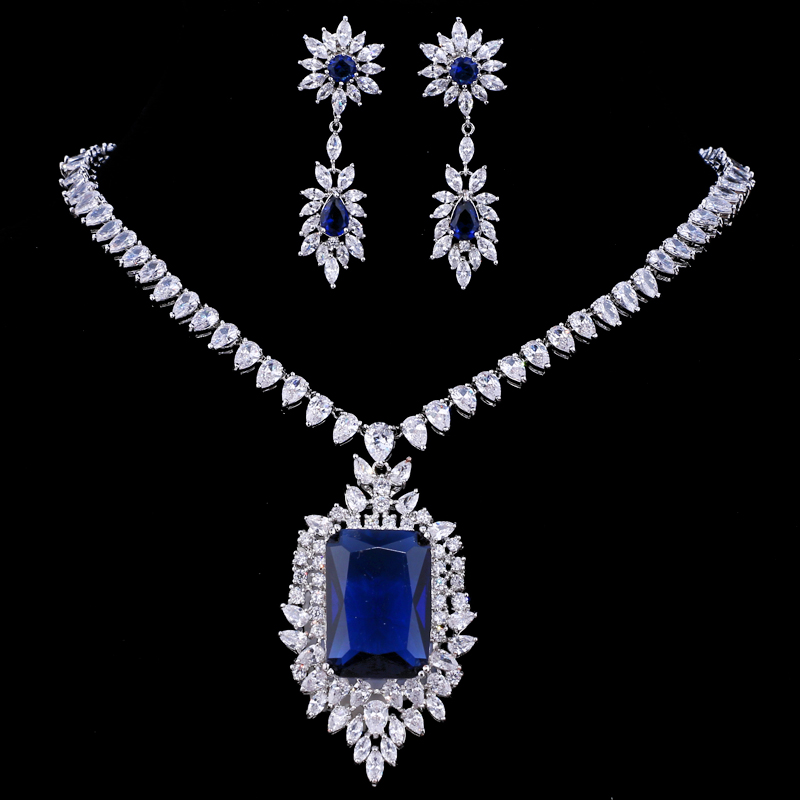Emmaya Zircons AAA Quality Cubic Zirconia Big Rectangul Royal Blue Bridal Wedding Evening Earring Necklace Jewelry Set For WomenBridal Jewelry Sets   -