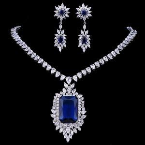 Image 1 - Emmaya cyrkonie jakość aaa cyrkonia Big Rectangul Royal Blue Bridal wieczór weselny kolczyk naszyjnik komplet biżuterii damskiej