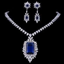 Emmaya ensemble de bijoux boucle doreille en zircon cubique AAA, grand ensemble de bijoux, grand bleu Royal, soirée de mariage, pour femmes