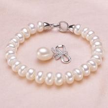 Свадьба пресноводный жемчуг браслет для женщин, настоящий природный жемчуг браслеты 925 серебряные ювелирные изделия для девочек лучший подарок на день рождения Одежда высшего качества