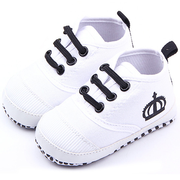 Fashion Baby Boys White/Red Soft Sole Crib Shoes Girls Cotton Sneaker Prewalker