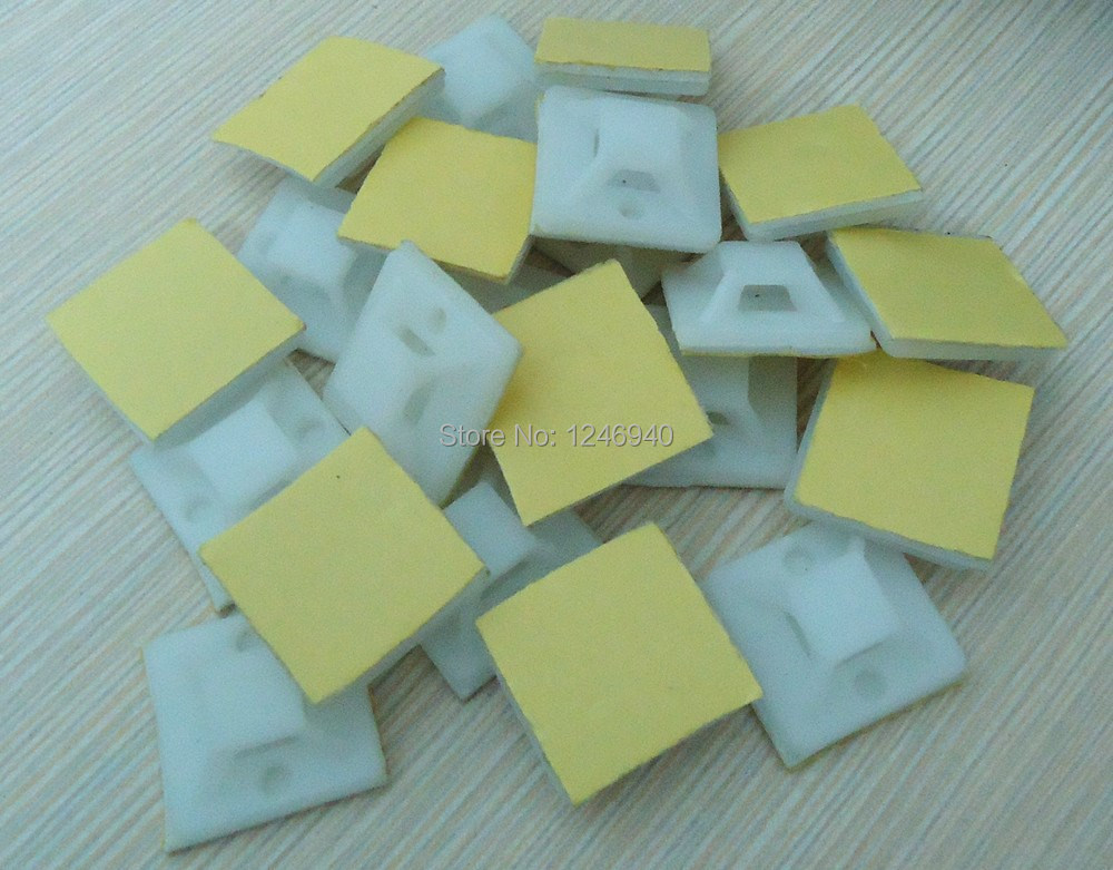 Free shipping 1000 pcs of 20mm*20mm cable holder White Zip Tie Cable ...
