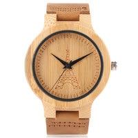 Для мужчин наручные-часы Бамбук ручной кварцевые часы Пояса из натуральной кожи модные коричневые Женские часы Классический Эйфелева башн...