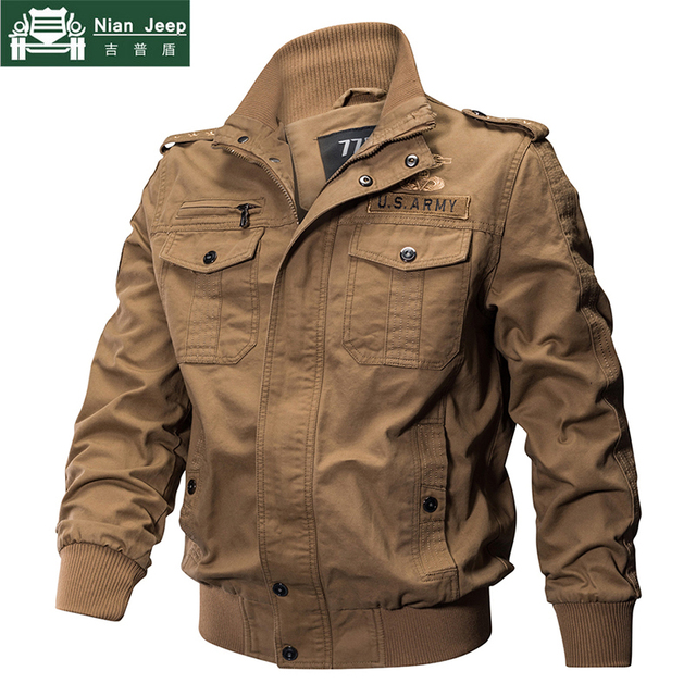 2018 Plus Size Military Jacket Men Spring Autumn Cotton Pilot Jacket Coat Army Men's Bomber Jackets Cargo Flight Jacket Male 6XL 2