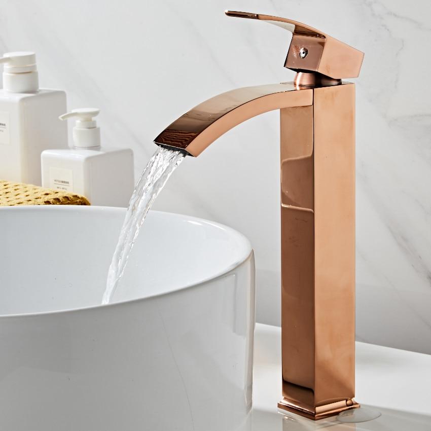 Basin faucet brass bathroom faucet single handle torneiras para pia de banheiro Rose Gold sink Wash faucet waterfall faucet|Basin Faucets| |  - title=