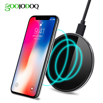 GOOJODOQ QI Wireless Charger for iPhone 8 / 8 Plus iphone X 7 6 6s 5 Qi Wireless Charger Pad for Samsung S8 S8 Plus S7 Edge S7