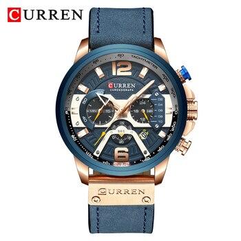 CURREN New Watch Men Chronograph Sport Quartz Clock Mens Watches Top Brand Leather Strap Waterproof Wristwatch Relogio Masculino 1