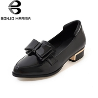 BONJOMARISA 2018 Summer Fashion Women Bow Loafers Shallow Slip On Patent Shoes Woman Low Heels Women