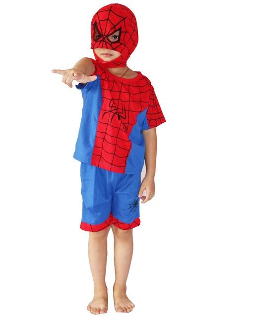 Ropa modelo de rol trajes del partido del Muchacho, 3-7 años chico manga corta de doble propósito de araña-man Cosplay/ropa deportiva