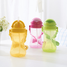 420 мл Детские питьевые чашки бутылка с соломинкой портативная бутылочка для кормления откидная крышка пластиковая Герметичная Бутылка для молока для детей подарок