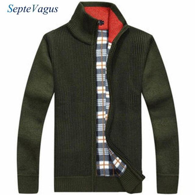Neue Marke Farben-männer Beiläufige Gestrickte Wolle Mischung Dicke Polar  Fleece Futter Pullover Strickjacken Kaschmir 71d5470437