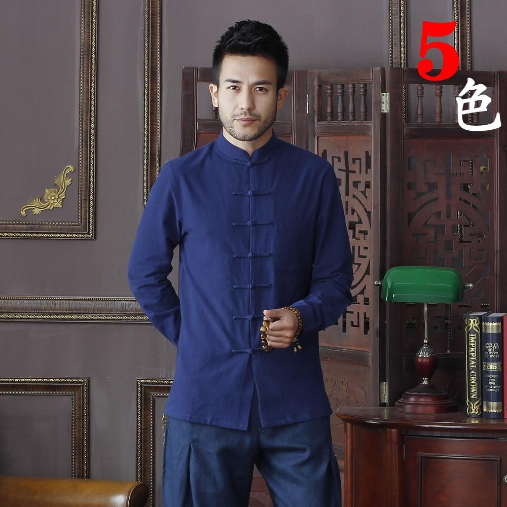 Summer New Navy Blue Chinese Traditional Men's Mandarin Collar Solid Cotton Long Sleeve Kung-Fu Shirt Coat M L XL XXL XXXL D01