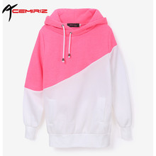 ACEMIRIZ Women 2 Colors Stitching Casual Hoodies Unisex Lapel Hooded Pullovers Autumn Winter New Patchwork Sweatshirts Hot Sale