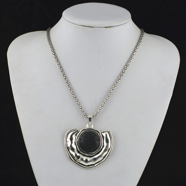R87H Round Black Lava Rock Volcano  Stone Natural Necklace Pendant Jewlery Women ,Vintage Look,Tibet Alloy,wholesaler