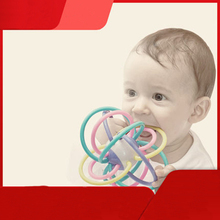 Safety Silicone Biting Teething Teether Balls Ring Fun Rattle Toys For Baby недорого