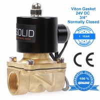 U.S. Solid 3/4 Brass Electric Solenoid Valve 24V DC Normally Closed, fuel air oil water, CE Certified