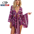 Floral Print Jumpsuit Women 2017 Long Sleeve High Waist chiffon Sexy Playsuits Leotard Boho Summer Combinaison Overalls Macacao