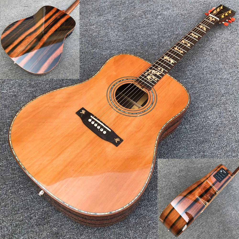 new 41 inches solid cedar top d style acoustic guitar custom beautiful black sandalwood body. Black Bedroom Furniture Sets. Home Design Ideas