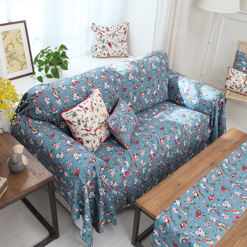 Rustic Vintage Bird American Style Sofa Cover Cotton Sofa Cover Flowers Sofa  Cover(China (