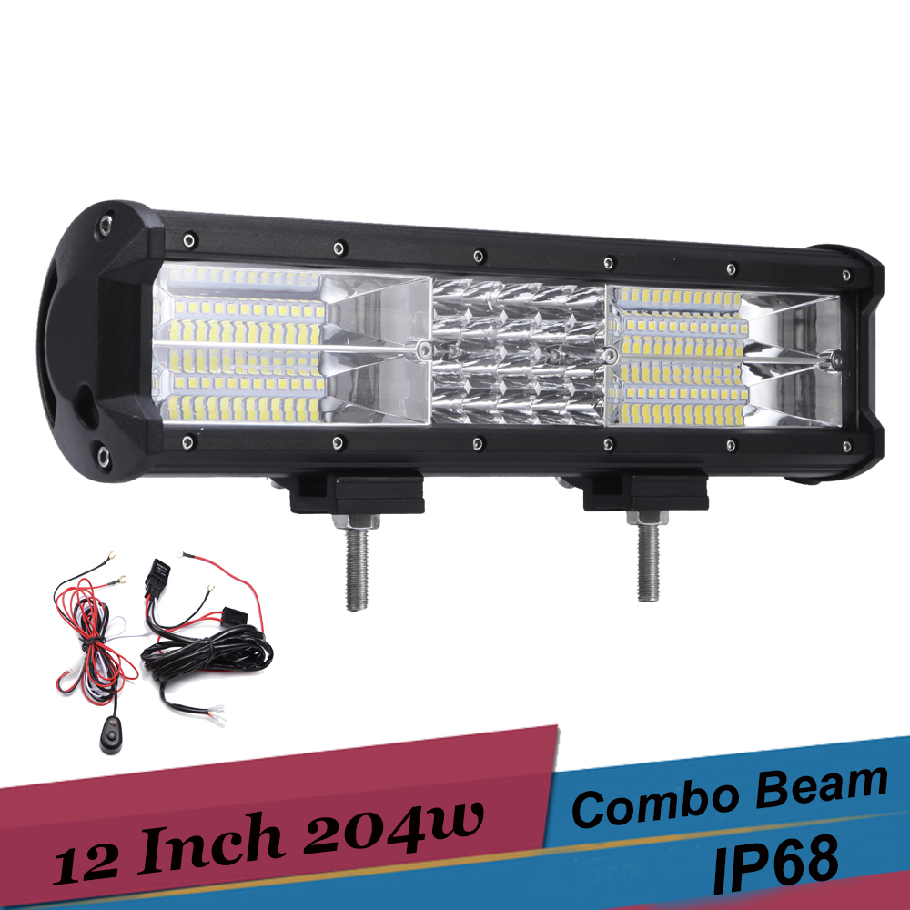 4 Row LED Light Bar 12 Inch 204w LED Work Light Spot Flood Combo Led Bar Off Road 4X4 Truck SUV ATV Trailer Lights Driving Lamp tripcraft promotion 20 inch 60w crees led single row work light bar spot flood combo offroad driving lamp suv atv 10v 30v