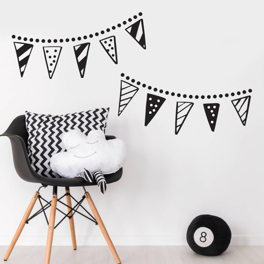 Us 8 98 25 Off Bunting Banner Trendy Wall Sticker For Baby Bedroom Nursery Vinyl Decals Home Decoration Living Room Removable Decal Zb218 In
