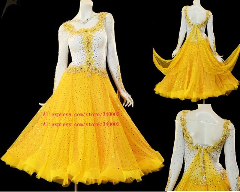 Standard Ballroom Dance Dress Adult 2018 High Quality Elegant Yellow Dance Skirt Waltz Ballroom Competition Dance Dresses Women