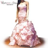 ブラッシュピンクウェディングドレスオーガンジーウェディングドレス2017 vestidoデノビアfotosさんアルカサル桃のウェディングドレス人魚ブライダルドレス