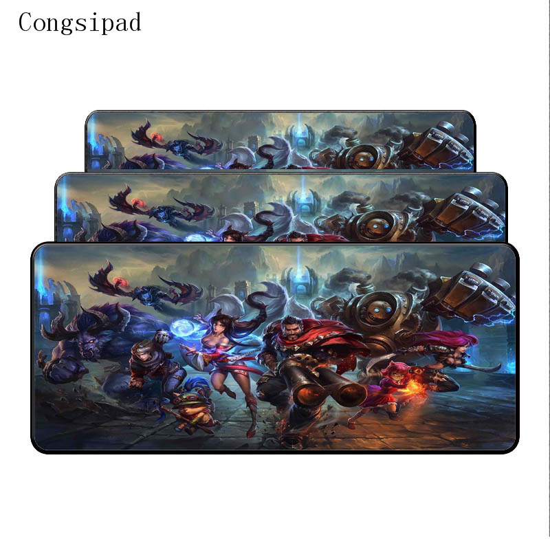 Yuzuoan League of Legends Free Shipping  keyboard Desk LOL mouse pad 900X 400X 4mm Large Lock Edges Soft/Rubber High quality