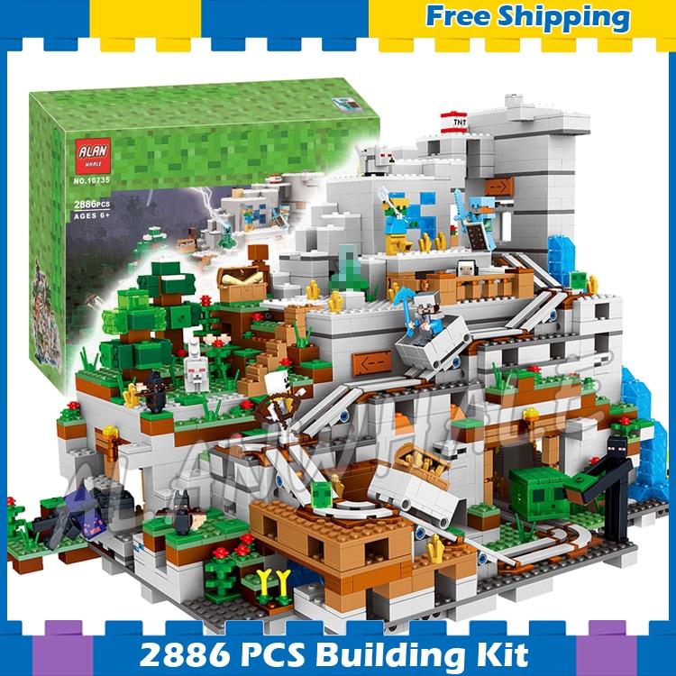 2886 pcs Mon Monde L'énorme Montagne Grotte Minecart Piste 10735 Modèle Blocs de Construction Jouets Briques Compatible avec Lego Minecrafted