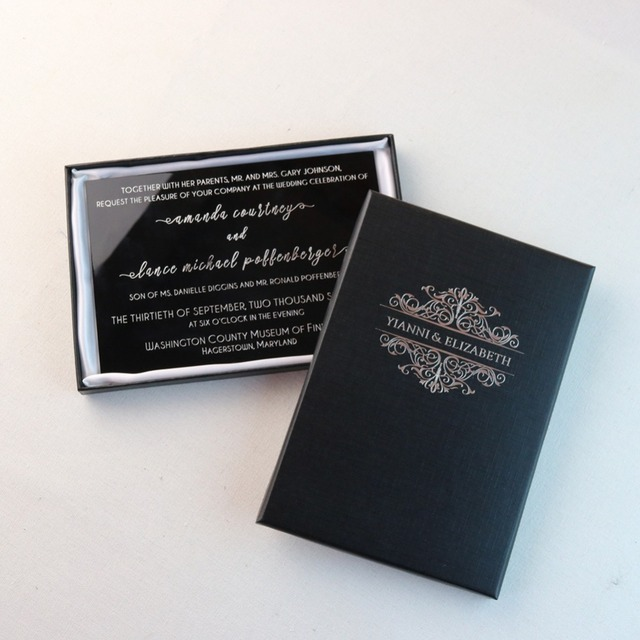 30pcs personalized engraved acrylic wedding invitation cards for
