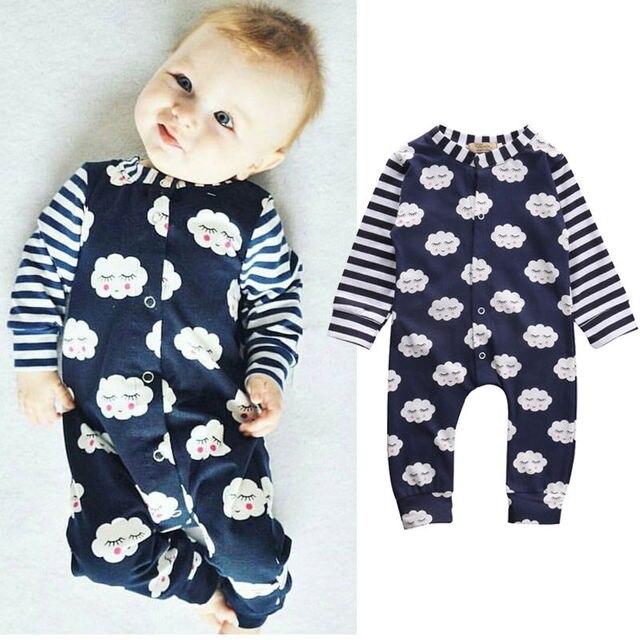 1ab1d26d5526 Cute Baby Boy Girl Clothes Shy Romper Long Sleeve Dark Blue Jumpsuit ...